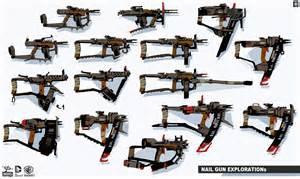 nail gun explorations concept art from the video game batman arkham