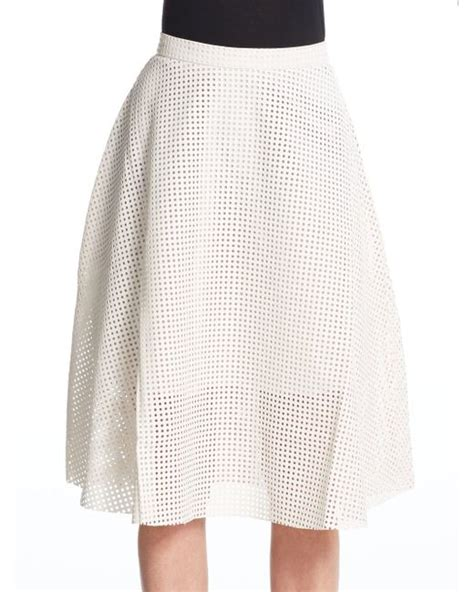 catherine malandrino perforated faux leather midi skirt in