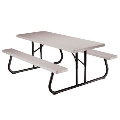 Kitchen Faucets Costco by Lifetime 6 Ft Folding Picnic Table With Benches 22119