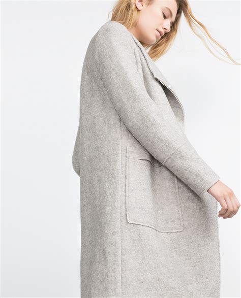 light grey long coat zara wool coat in gray lyst