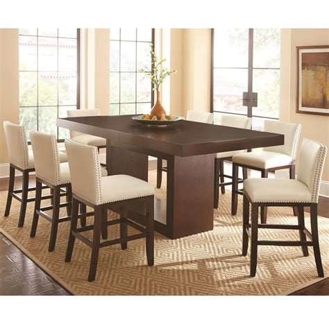 counter height table with upholstered chairs steve silver antonio 9 counter height dining set