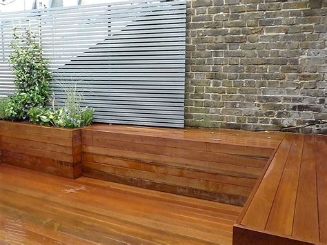 garden wall bench courtyard london garden design