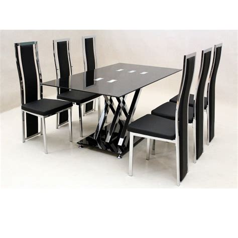 Glass Dining Sets 6 Chairs Cheap Heartlands Shiro Glass Small Dining Table Set 6 Chairs For Sale