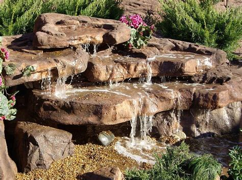 small cascade waterfall rock backyard garden waterfalls