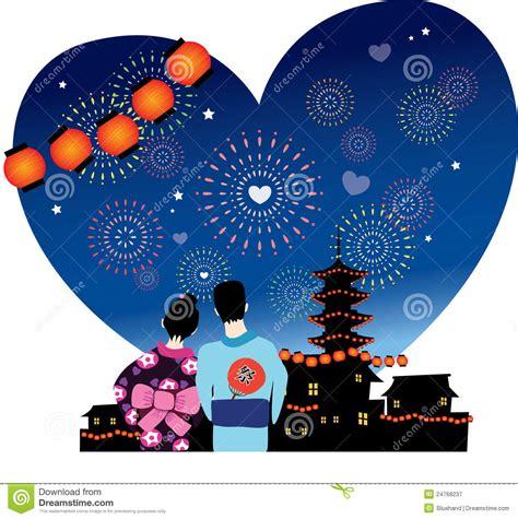 design love fest tokyo japanese summer festival romance stock illustration