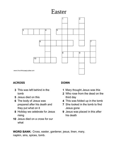 printable easter puzzle easter crossword puzzle