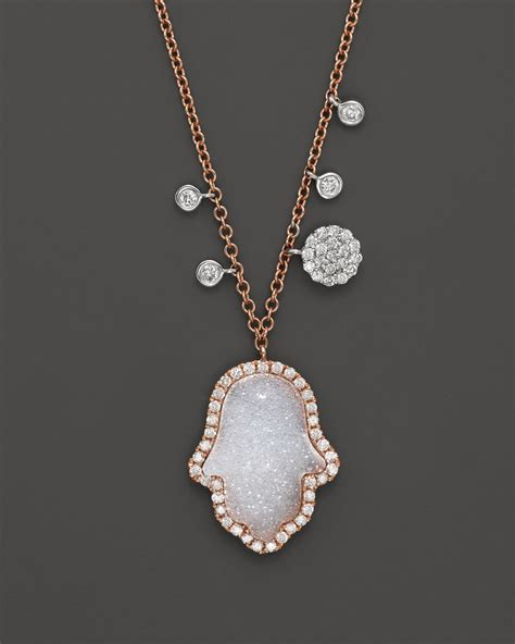 meira t 14k gold and druzy hamsa necklace in