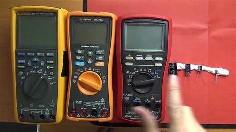 test capacitor with fluke meter fluke 287 vs agilent u1272a vs brymen bm867 capacitance measurement