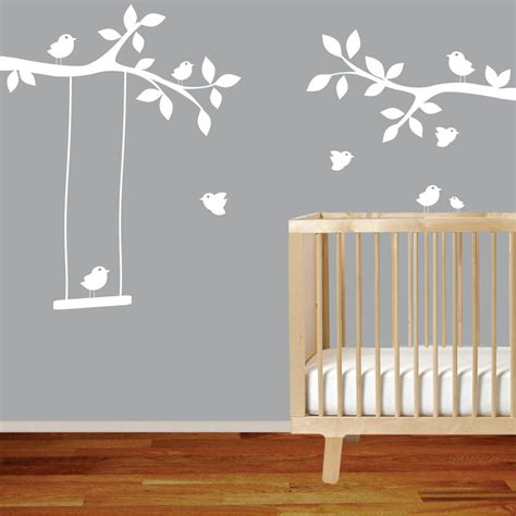 Nursery Wall Decal Branch With Birdsswingwhite Wall Decal Nursery Wall Decals For