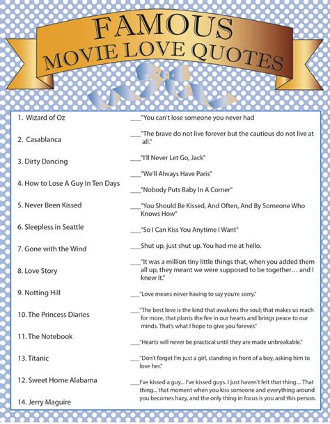 printable movie love quotes game diy instant download printable bridal shower game famous