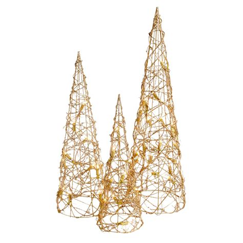 lighted christmas twig tree set glittered led twig cone trees set of 3 christmas tree