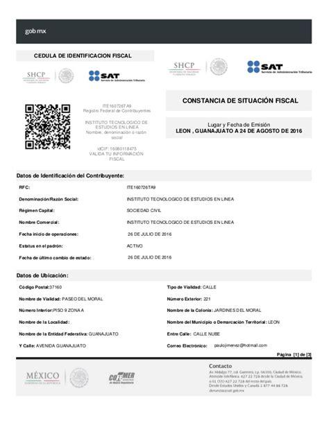 idconline constancia de situacin fiscal del contribuyente rfc instituto tecnol 243 gico de estudios en l 237 nea s c