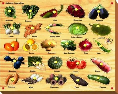 a to z vegetables names with pictures alphabet vegetables with knob toys and