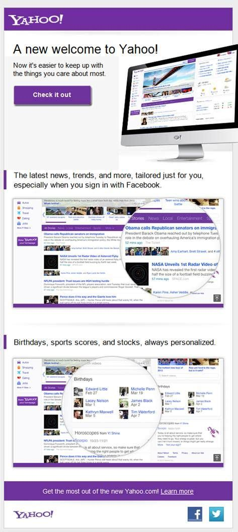 layout yahoo 17 best images about email product launch on pinterest