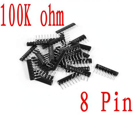 resistor network 8 pin a08 104 commoned resistor network array 100k ohm 8 pin sip 8 a type 1 8w 200pcs in resistors