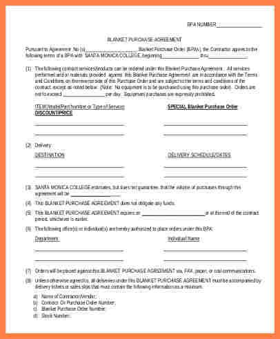 doc 585615 sample blanket purchase agreement template