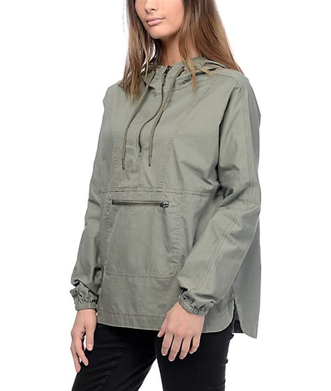 empyre lula olive twill anorak hoodie