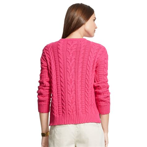 Two Color Sweater Pink ralph cable knit cotton sweater in pink lyst