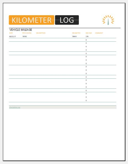 vehicle kilometer log template  ms excel excel templates