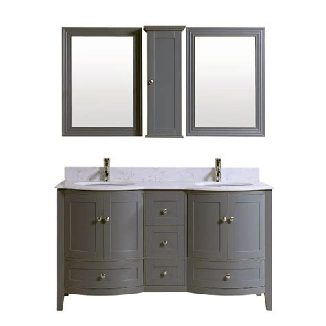60 inch double grey bath vanity cabinet with mirror