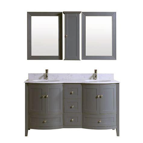 60 inch double grey bath vanity cabinet with mirror