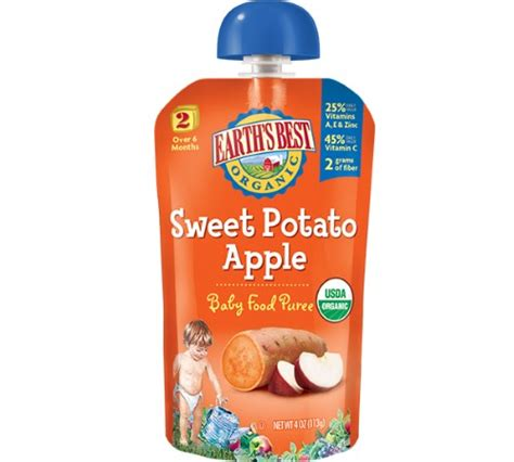 Peachy Pouch Apple Spinach Sweet Potato Puree earth s best sweet potato apple puree pouch 4 ounce pack