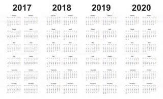 Calendar 2018 And 2019 And 2020 Calendar 2017 2018 2019 2020 Simple Design Sundays Marked