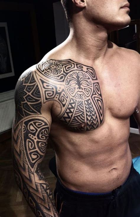 chest arm tattoos for men awesome maori right arm chest for