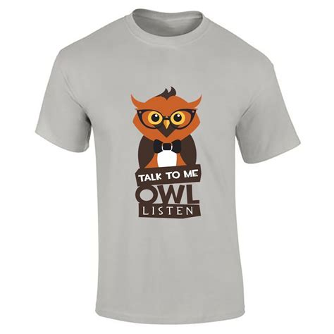 Owl Printed T Shirt mens talk to me owl listen printed t shirt boys