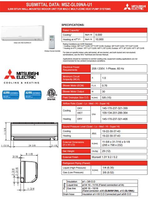 Manual and guide for Mitsubishi MSZ GL09NA U1 Ductless Split Wall Mounted Heat Pump 9000 BTU