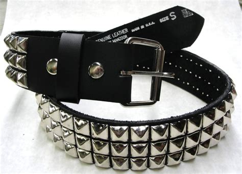 genuine leather belt 3 row rows pyramid stud studs high