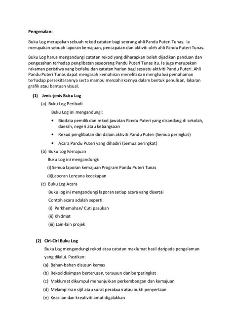 format buku log lencana kemahiran buku log pandu puteri tunas