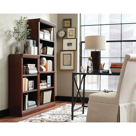 hton bay 3 shelf decorative bookcase in brown