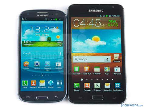 samsung galaxy s iii vs samsung galaxy note phonearena