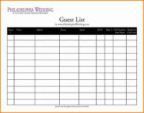 excel template for wedding guest list 4 printable wedding guest list template expense report