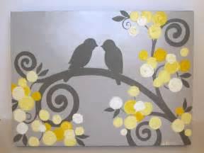 Deep Purple Bedroom Ideas - kids wall art yellow and grey textured birds by