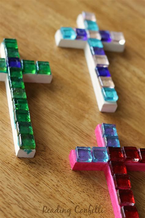 cross craft for easy mosaic cross craft reading confetti