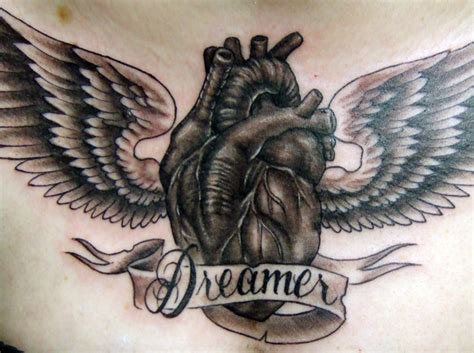 dreamer heart with wings tattoo design tattooshunt com