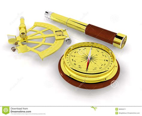 sextant compass compass sextant and telescope stock image image 38355571