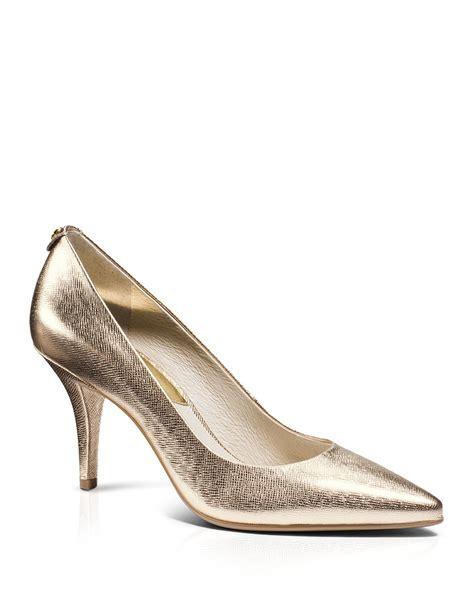 unlimited shoes mk gold lyst michael michael kors pumps mk flex in metallic