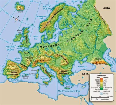 geographical map europe sixth grade