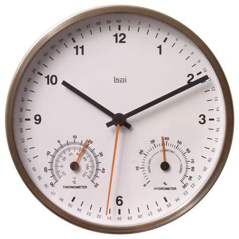 modern wall clocks stainless steel bai 6 quot stainless steel weather station wall clock white