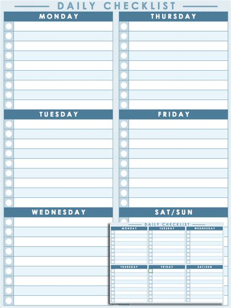 weekly checklist template daily checklist template pictures to pin on