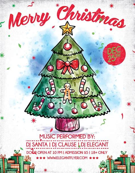 Merry X Mas Free Christmas Flyer Template Download For Photoshop Merry Flyer Template Free