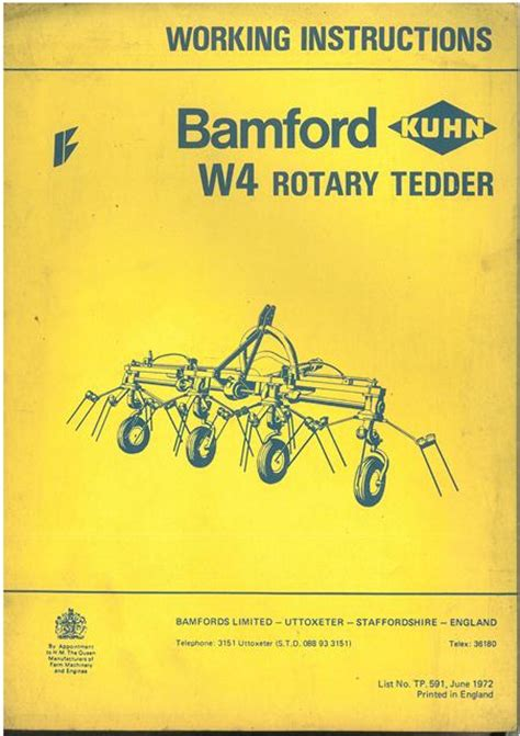 kuhn rake parts diagram bamford kuhn w4 rotary tedder operators manual