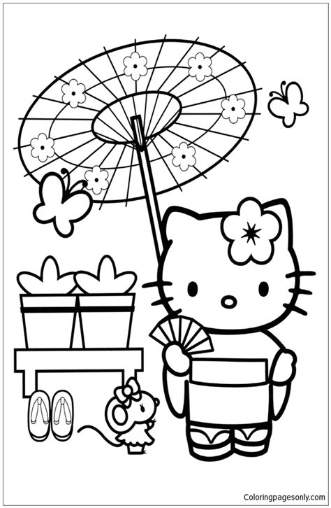 japanese hello kitty coloring pages hello kitty in japan coloring page free coloring pages