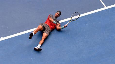 rafael nadal breaks shoelace at the australian open wins
