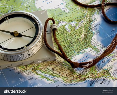 map of usa with compass navigate with compass map of america stock photo