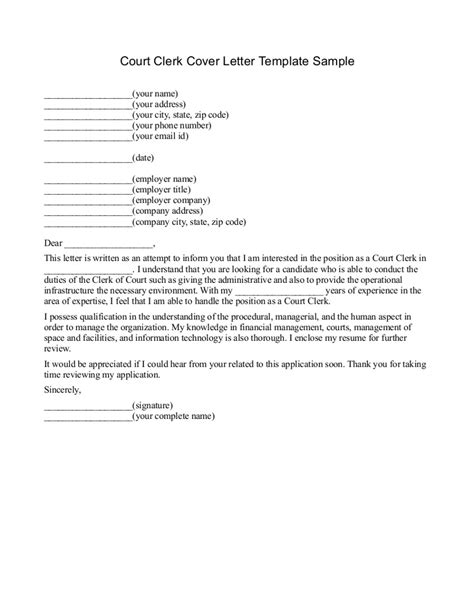 Clerk Cover Letter Format Court Letter Format Best Template Collection