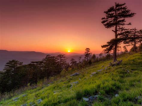 sunset  spring  montenegro desktop hd wallpaper
